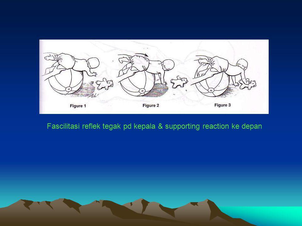 Fascilitasi reflek tegak pd kepala & supporting reaction ke depan