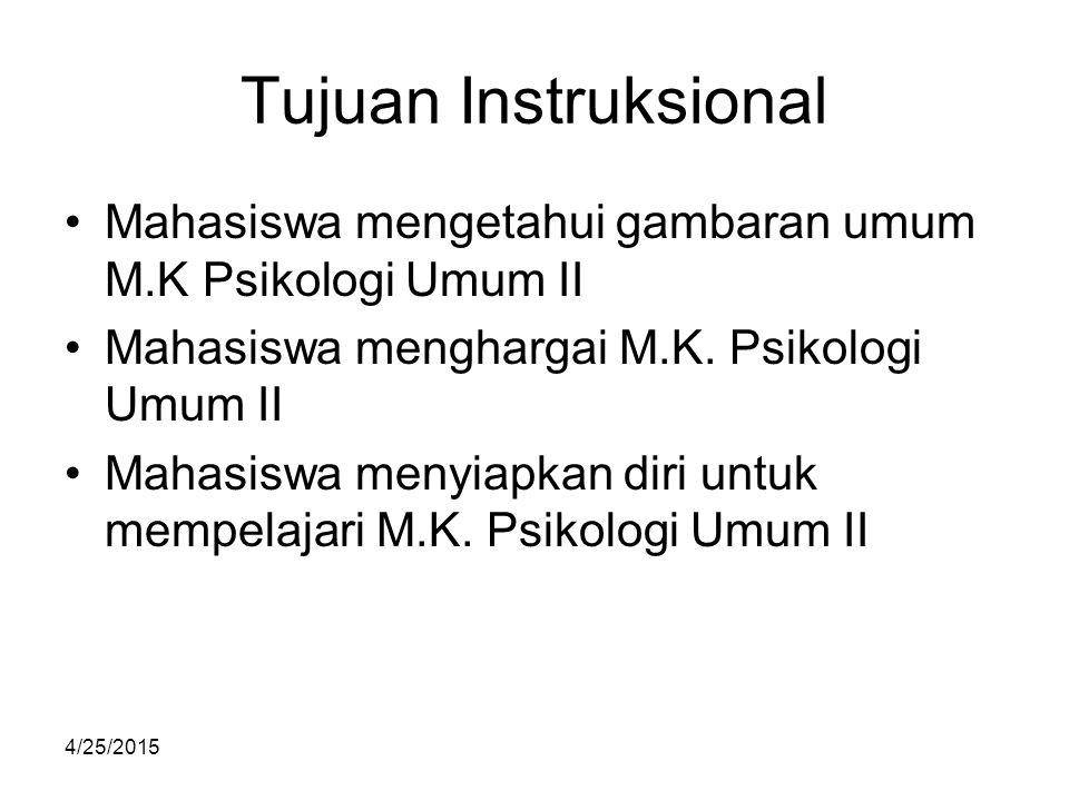 Tujuan Instruksional Mahasiswa mengetahui gambaran umum M.K Psikologi Umum II. Mahasiswa menghargai M.K. Psikologi Umum II.