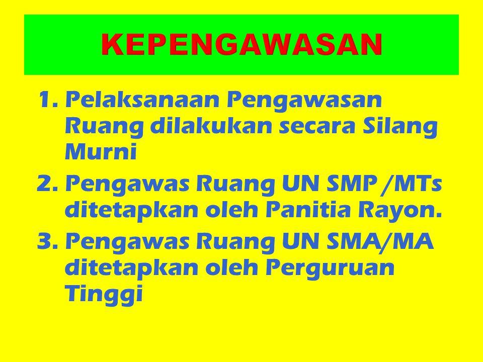 KEPENGAWASAN 1. Pelaksanaan Pengawasan Ruang dilakukan secara Silang Murni. 2. Pengawas Ruang UN SMP /MTs ditetapkan oleh Panitia Rayon.