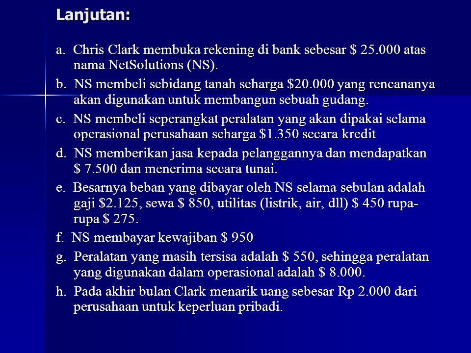 Lanjutan: a. Chris Clark membuka rekening di bank sebesar $ 25.000 atas nama NetSolutions (NS).