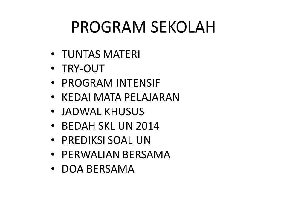 PROGRAM SEKOLAH TUNTAS MATERI TRY-OUT PROGRAM INTENSIF