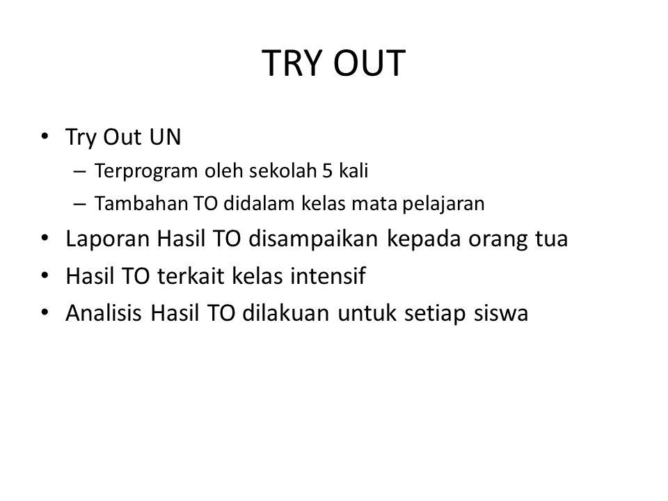 TRY OUT Try Out UN Laporan Hasil TO disampaikan kepada orang tua