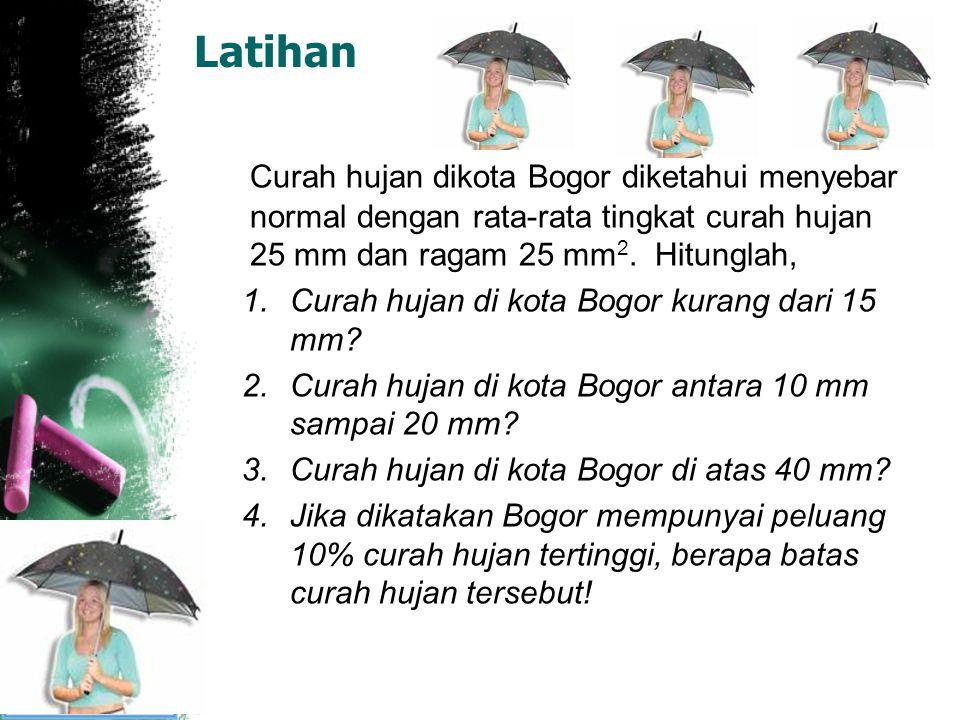 Latihan Curah hujan dikota Bogor diketahui menyebar normal dengan rata-rata tingkat curah hujan 25 mm dan ragam 25 mm2. Hitunglah,