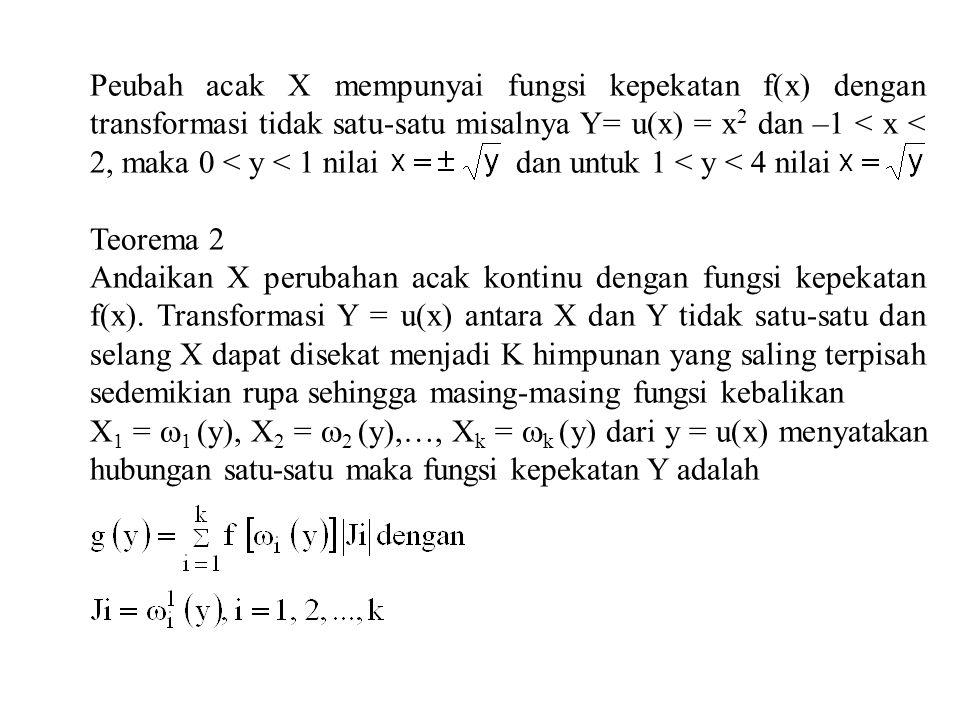 Peubah acak X mempunyai fungsi kepekatan f(x) dengan transformasi tidak satu-satu misalnya Y= u(x) = x2 dan –1 < x < 2, maka 0 < y < 1 nilai dan untuk 1 < y < 4 nilai