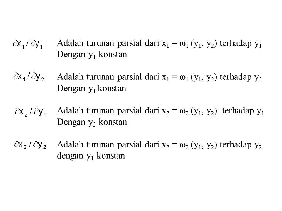 Adalah turunan parsial dari x1 = 1 (y1, y2) terhadap y1