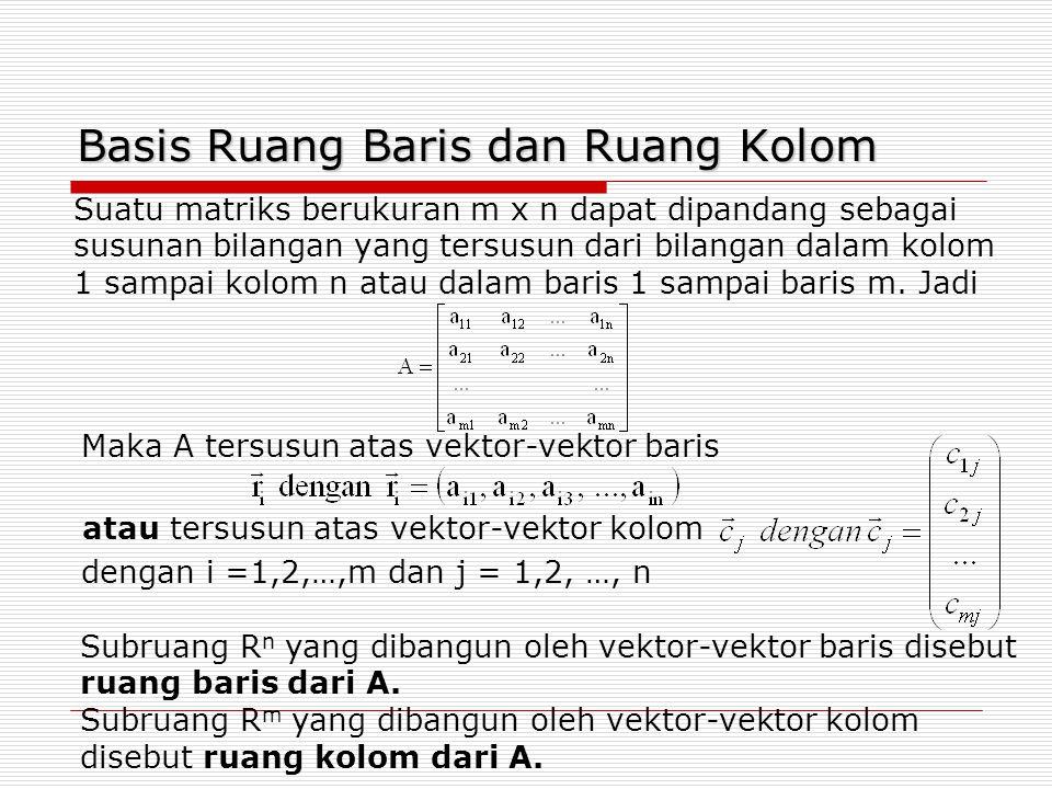 Basis Ruang Baris dan Ruang Kolom