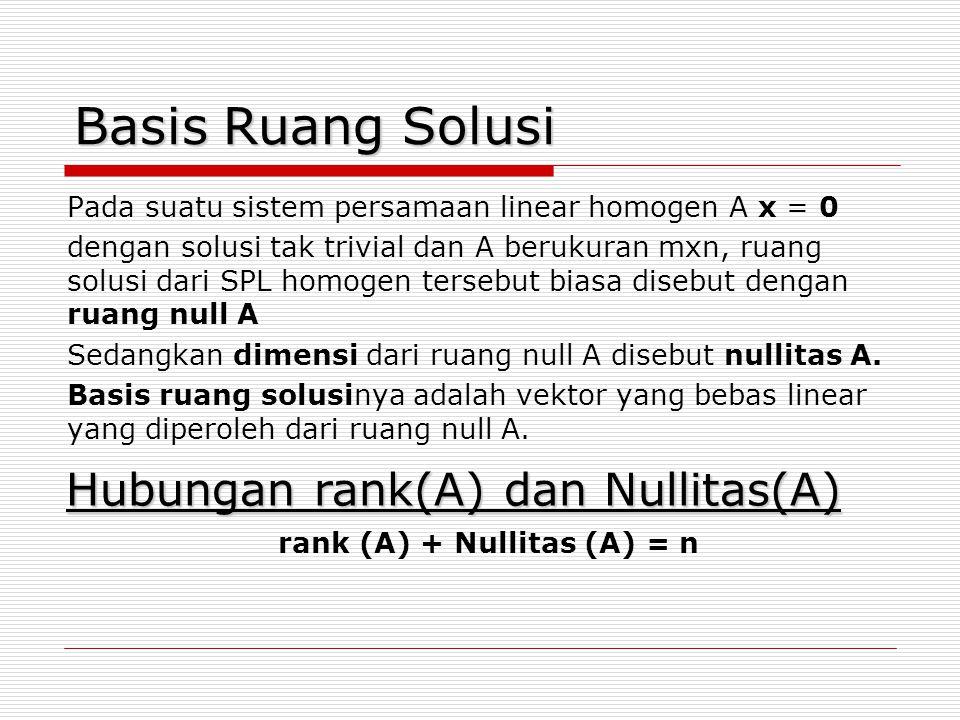 rank (A) + Nullitas (A) = n
