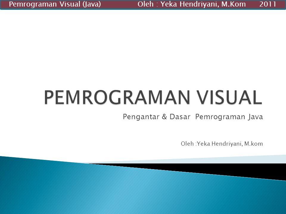 Pengantar & Dasar Pemrograman Java Oleh :Yeka Hendriyani, M.kom