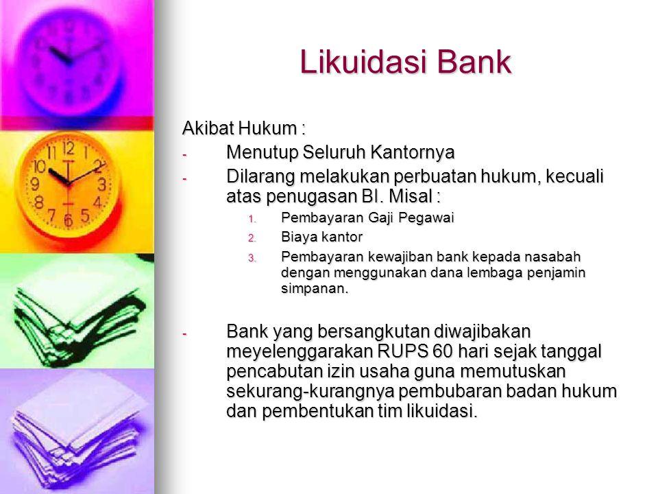 Likuidasi Bank Akibat Hukum : Menutup Seluruh Kantornya