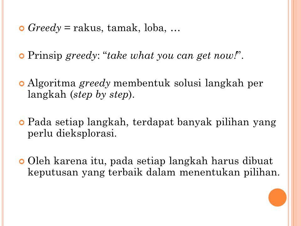Greedy = rakus, tamak, loba, …