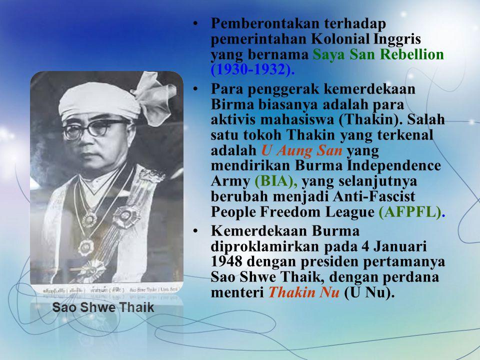 Pemberontakan terhadap pemerintahan Kolonial Inggris yang bernama Saya San Rebellion (1930-1932).