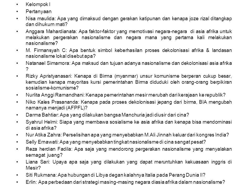 Kelompok I Pertanyaan. Nisa maulida: Apa yang dimaksud dengan gerakan katipunan dan kenapa joze rizal ditangkap dan dihukum mati