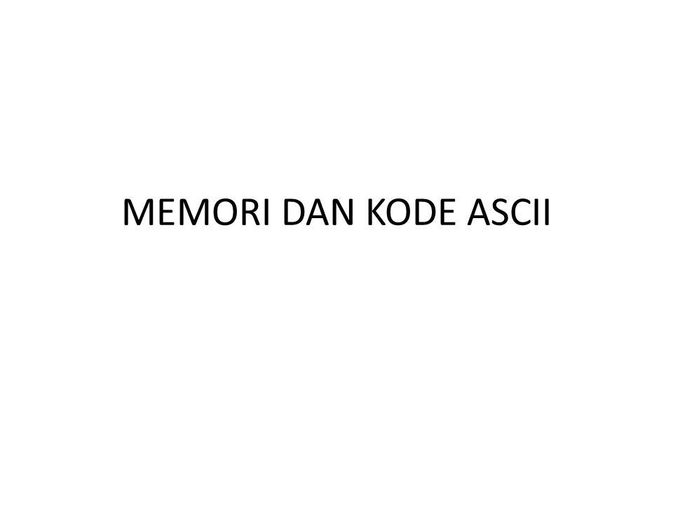 MEMORI DAN KODE ASCII