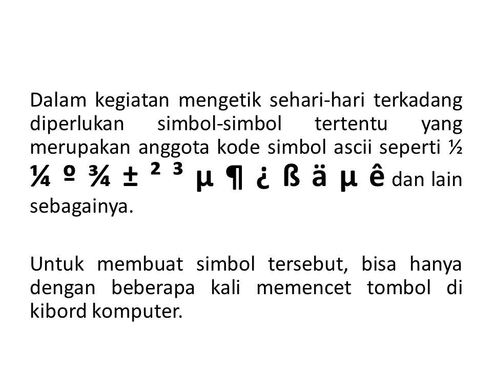Dalam kegiatan mengetik sehari-hari terkadang diperlukan simbol-simbol tertentu yang merupakan anggota kode simbol ascii seperti ½ ¼ º ¾ ± ² ³ μ ¶ ¿ ß ä μ ê dan lain sebagainya.
