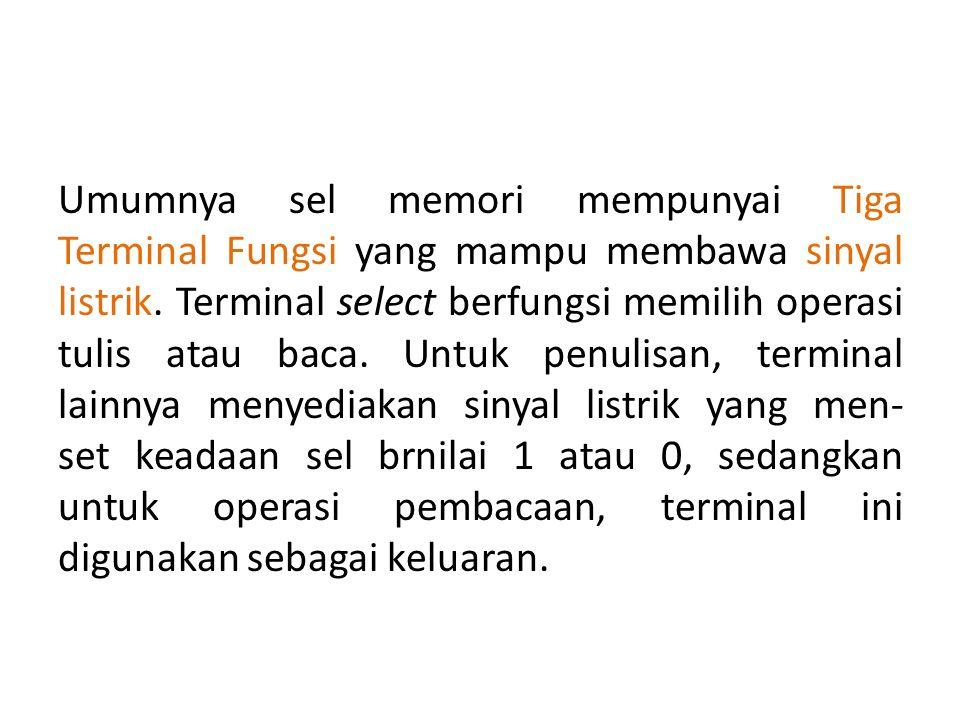 Umumnya sel memori mempunyai Tiga Terminal Fungsi yang mampu membawa sinyal listrik.