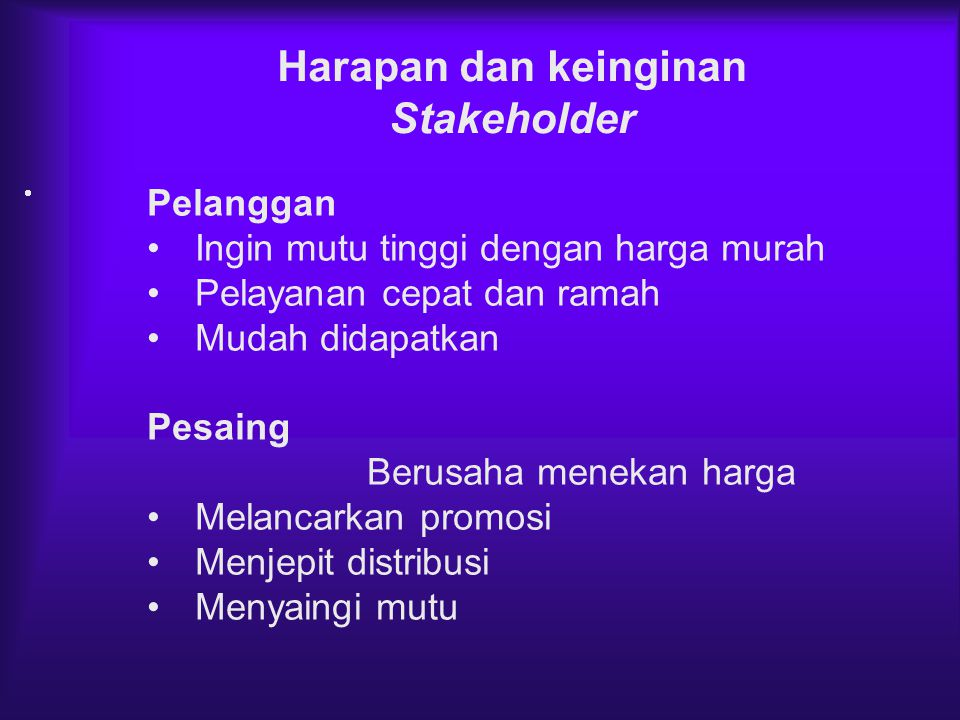 Harapan dan keinginan Stakeholder