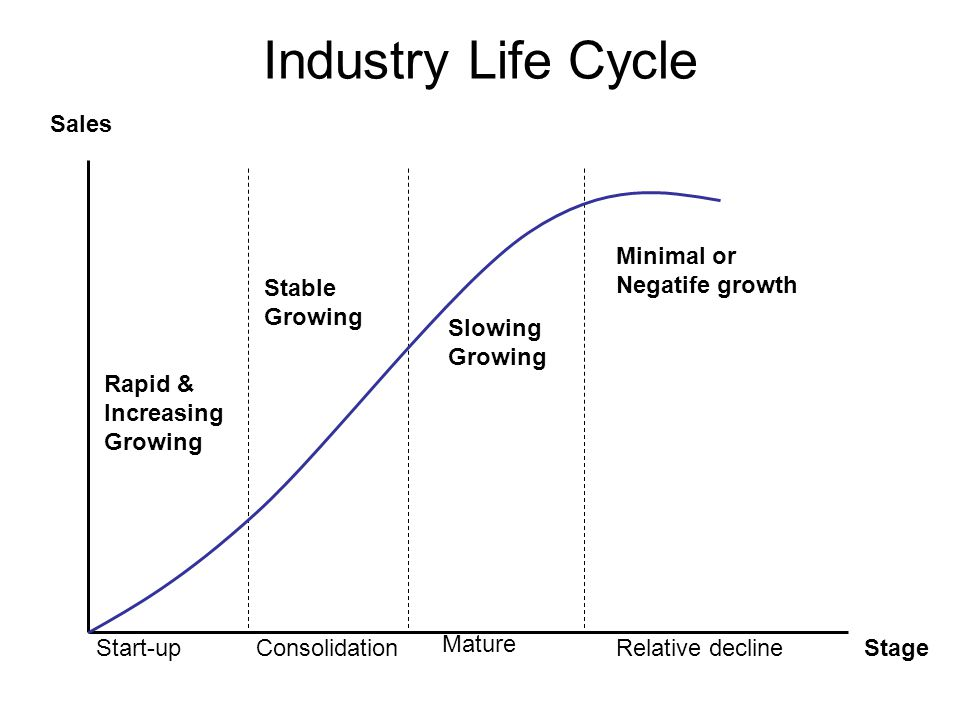 Industry Life Cycle Sales Minimal or Negatife growth Stable Growing