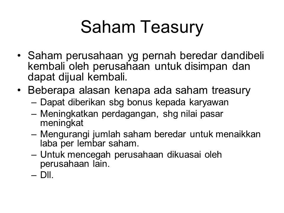 Saham Teasury Saham perusahaan yg pernah beredar dandibeli kembali oleh perusahaan untuk disimpan dan dapat dijual kembali.