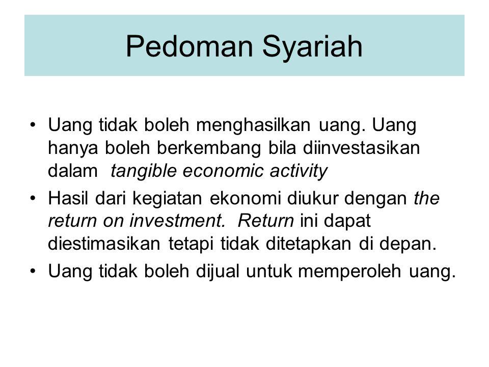 Pedoman Syariah Uang tidak boleh menghasilkan uang. Uang hanya boleh berkembang bila diinvestasikan dalam tangible economic activity.