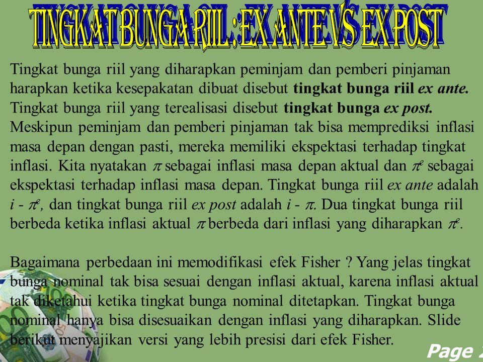 Tingkat Bunga Riil : Ex Ante vs Ex Post