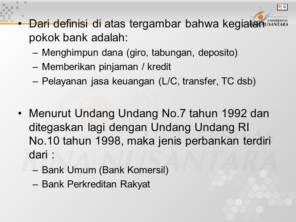 Dari definisi di atas tergambar bahwa kegiatan pokok bank adalah: