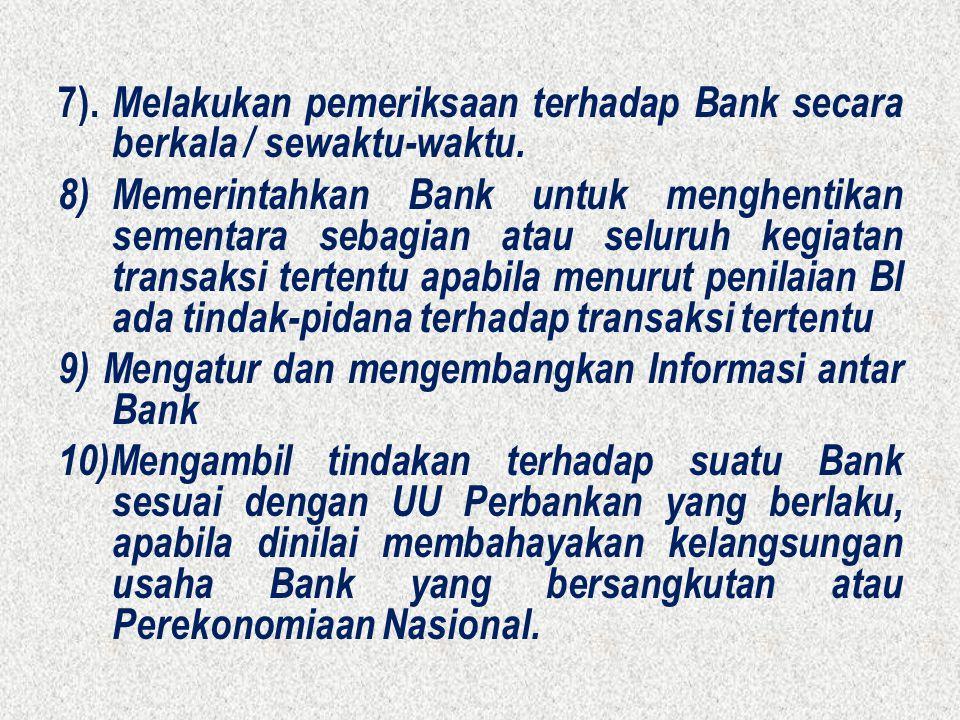 7). Melakukan pemeriksaan terhadap Bank secara berkala / sewaktu-waktu.