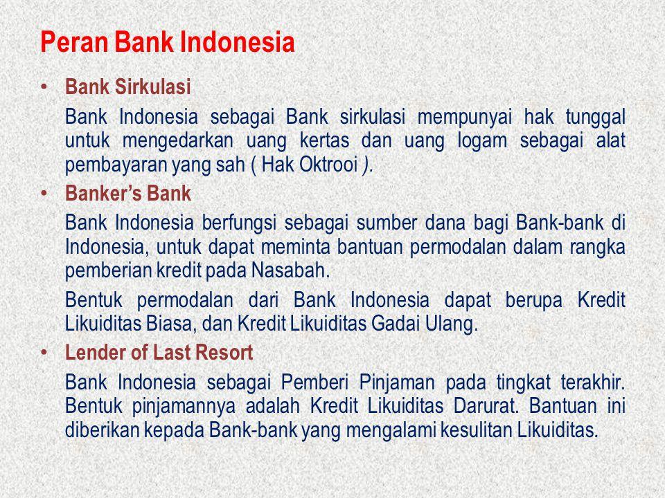 Peran Bank Indonesia Bank Sirkulasi