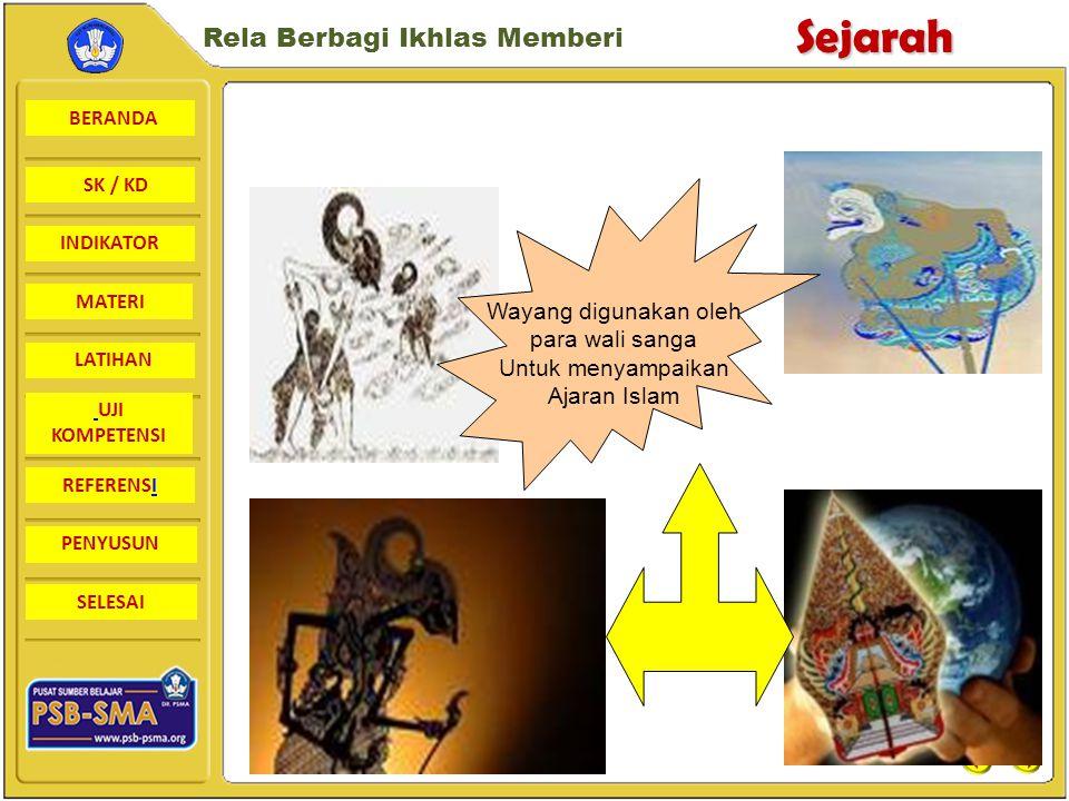 Wayang digunakan oleh para wali sanga Untuk menyampaikan Ajaran Islam