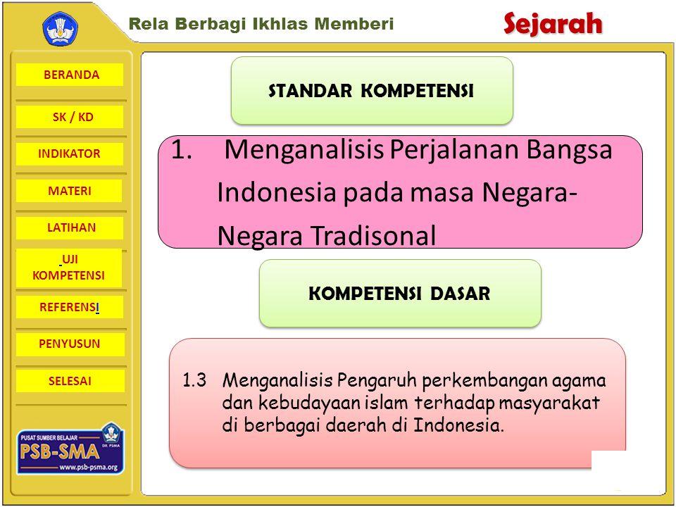 STANDAR KOMPETENSI 1. Menganalisis Perjalanan Bangsa Indonesia pada masa Negara- Negara Tradisonal