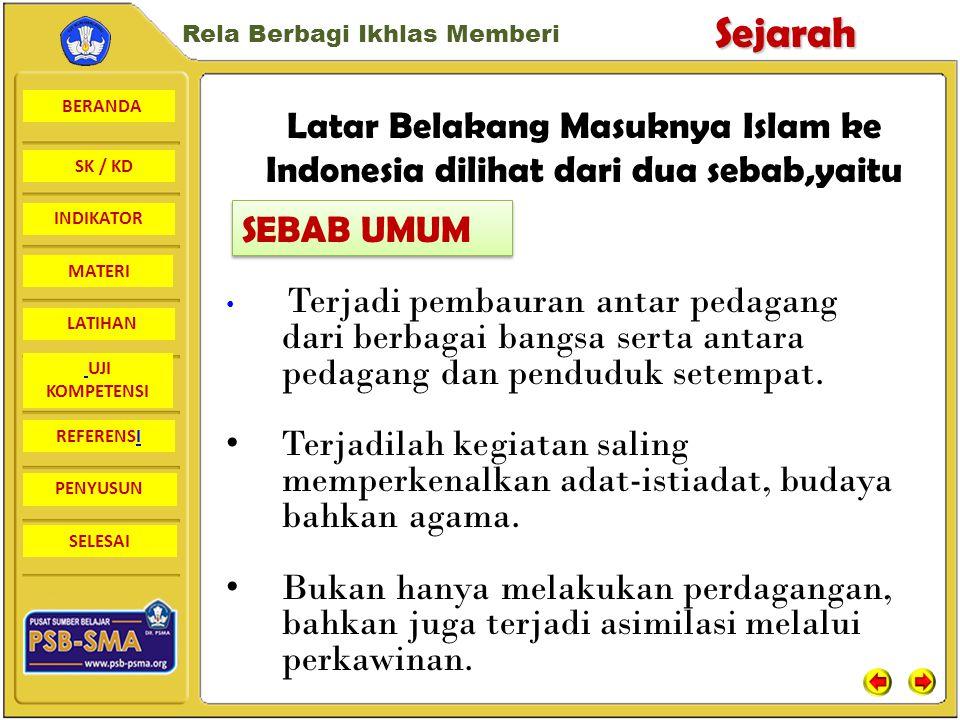 Latar Belakang Masuknya Islam ke Indonesia dilihat dari dua sebab,yaitu