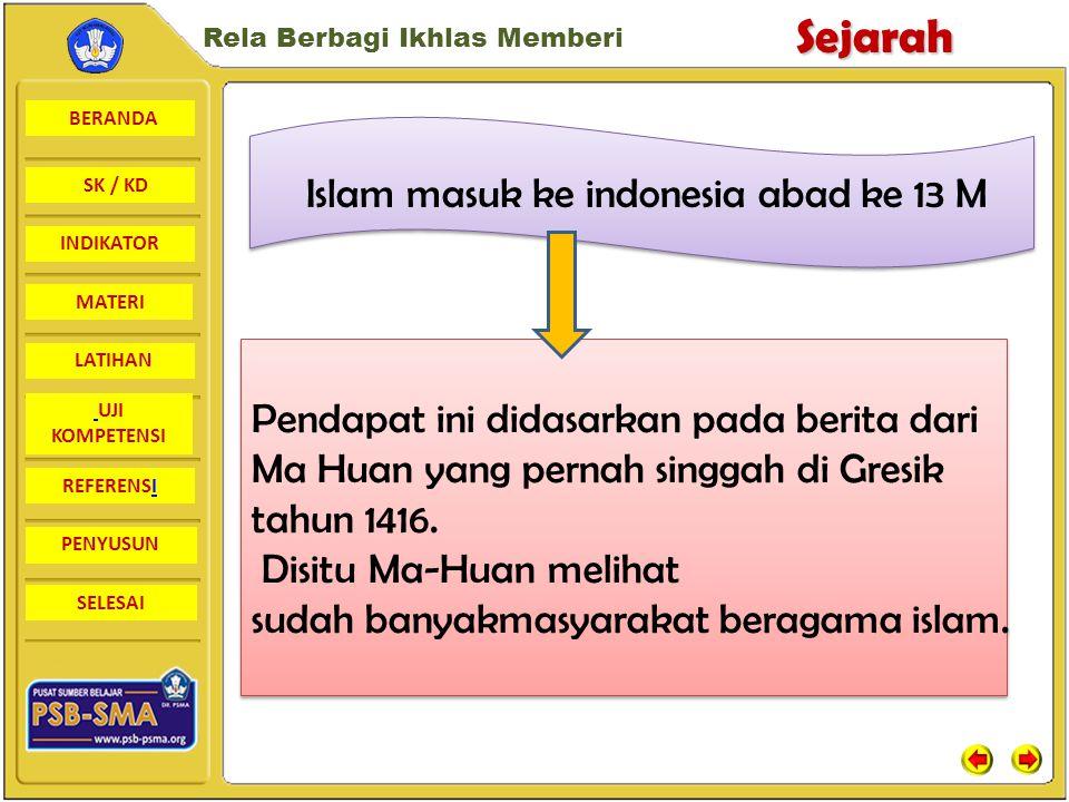 Islam masuk ke indonesia abad ke 13 M