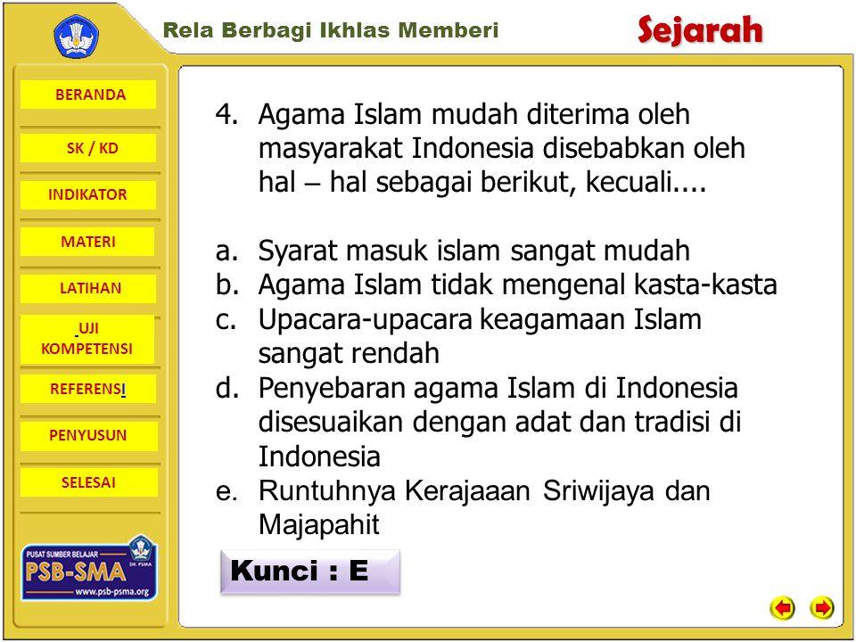 Agama Islam mudah diterima oleh masyarakat Indonesia disebabkan oleh hal – hal sebagai berikut, kecuali....