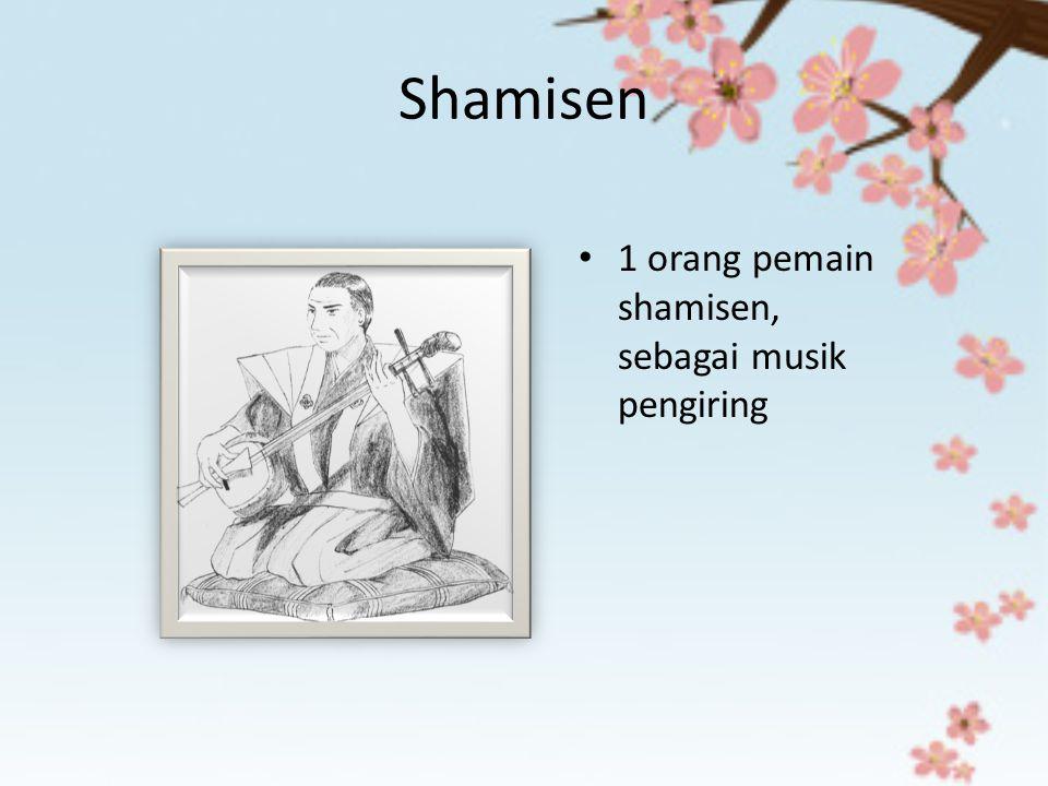 Shamisen 1 orang pemain shamisen, sebagai musik pengiring