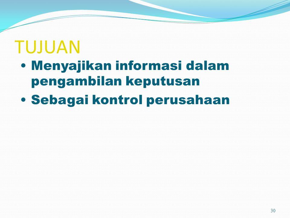 TUJUAN Menyajikan informasi dalam pengambilan keputusan