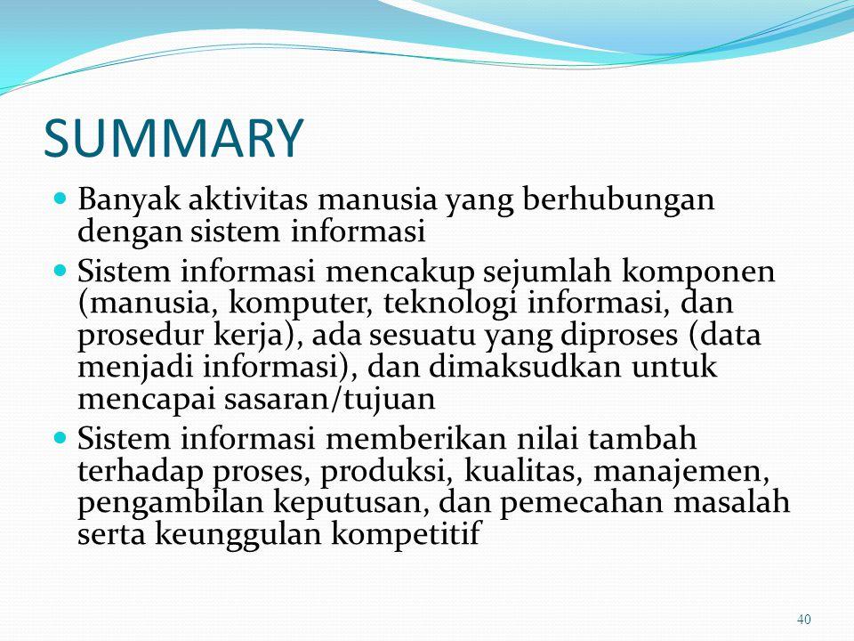 SUMMARY Banyak aktivitas manusia yang berhubungan dengan sistem informasi.