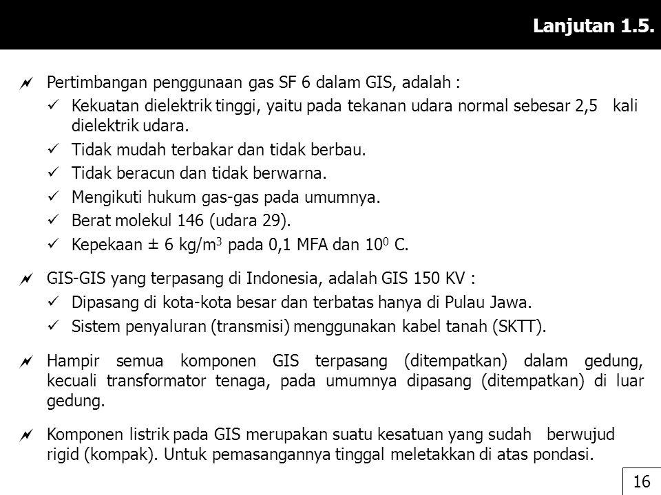 Lanjutan 1.5. Pertimbangan penggunaan gas SF 6 dalam GIS, adalah :