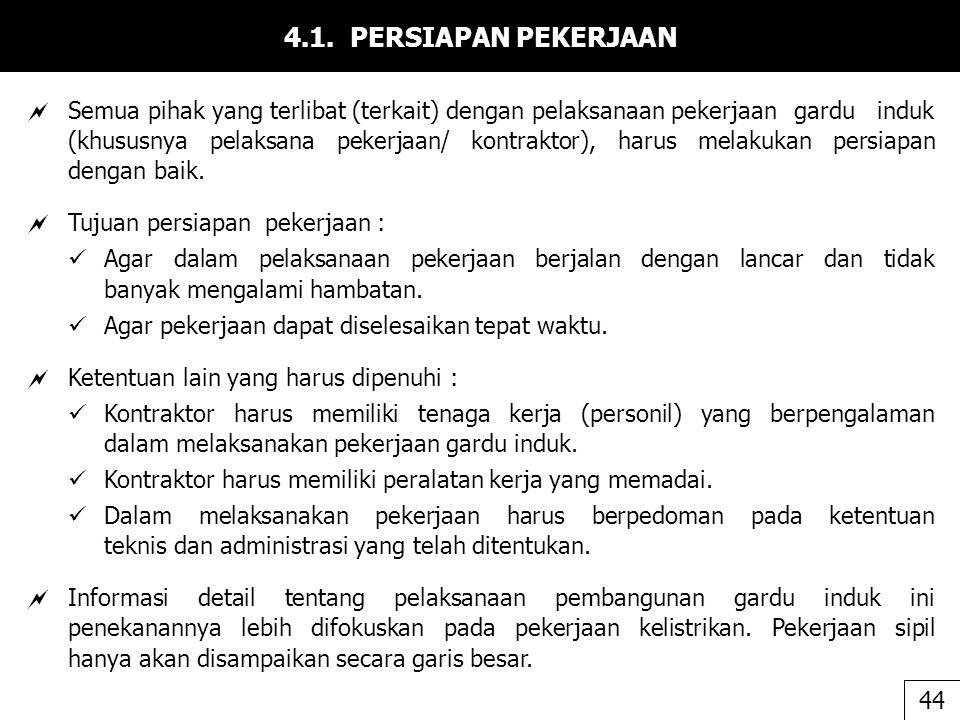 4.1. PERSIAPAN PEKERJAAN