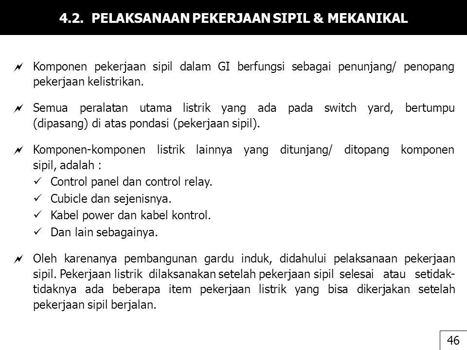 4.2. PELAKSANAAN PEKERJAAN SIPIL & MEKANIKAL