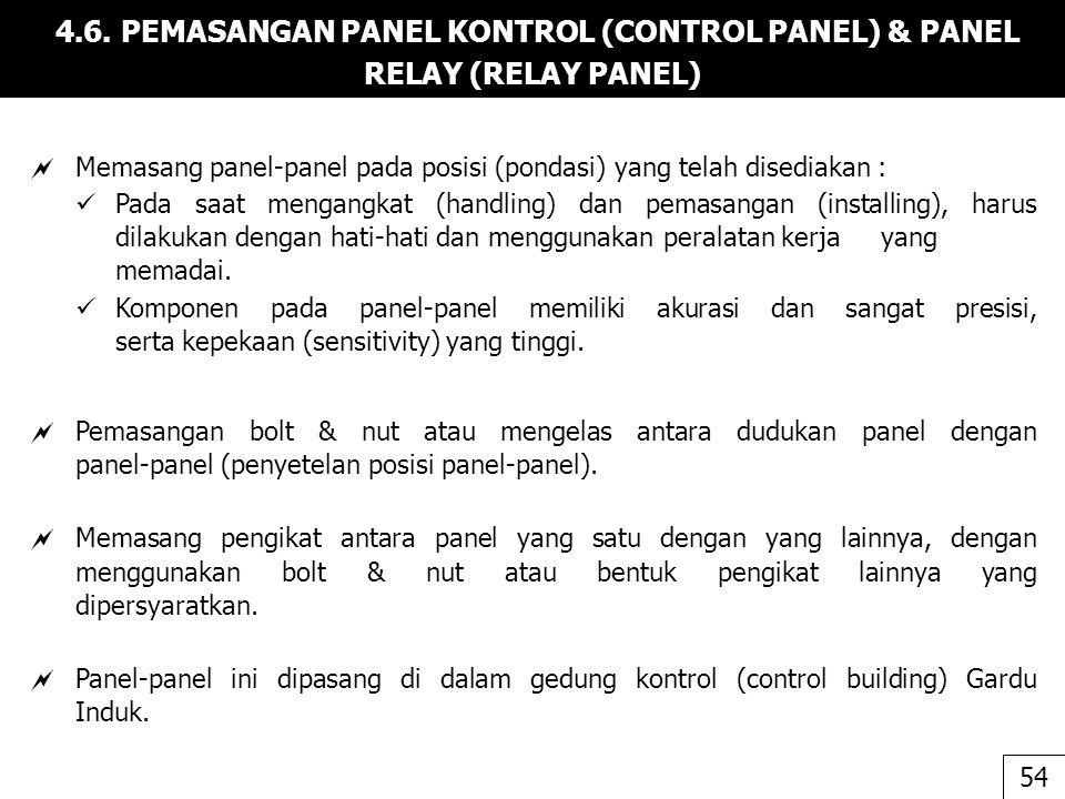 4.6. PEMASANGAN PANEL KONTROL (CONTROL PANEL) & PANEL RELAY (RELAY PANEL)
