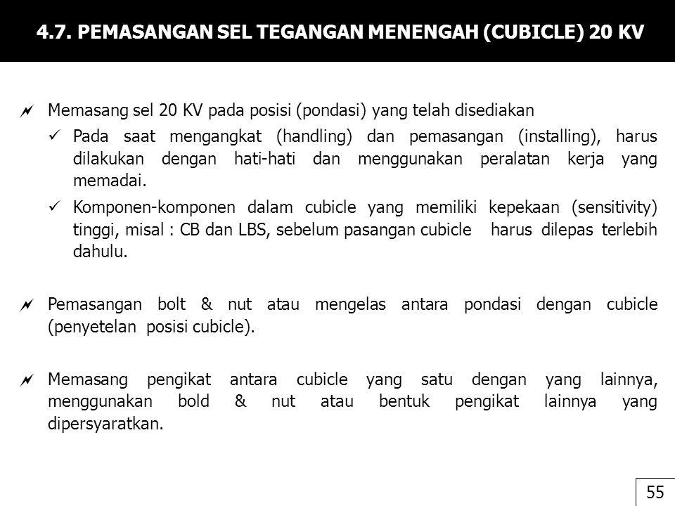 4.7. PEMASANGAN SEL TEGANGAN MENENGAH (CUBICLE) 20 KV