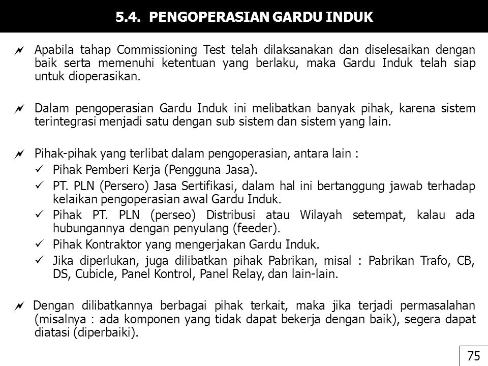 5.4. PENGOPERASIAN GARDU INDUK