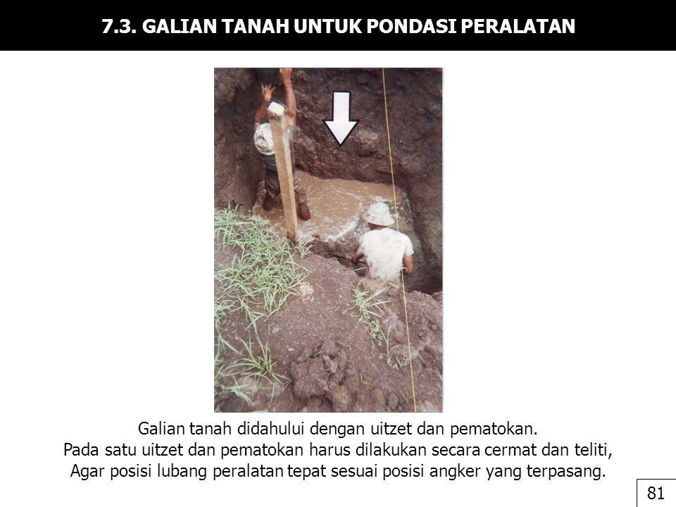 7.3. GALIAN TANAH UNTUK PONDASI PERALATAN