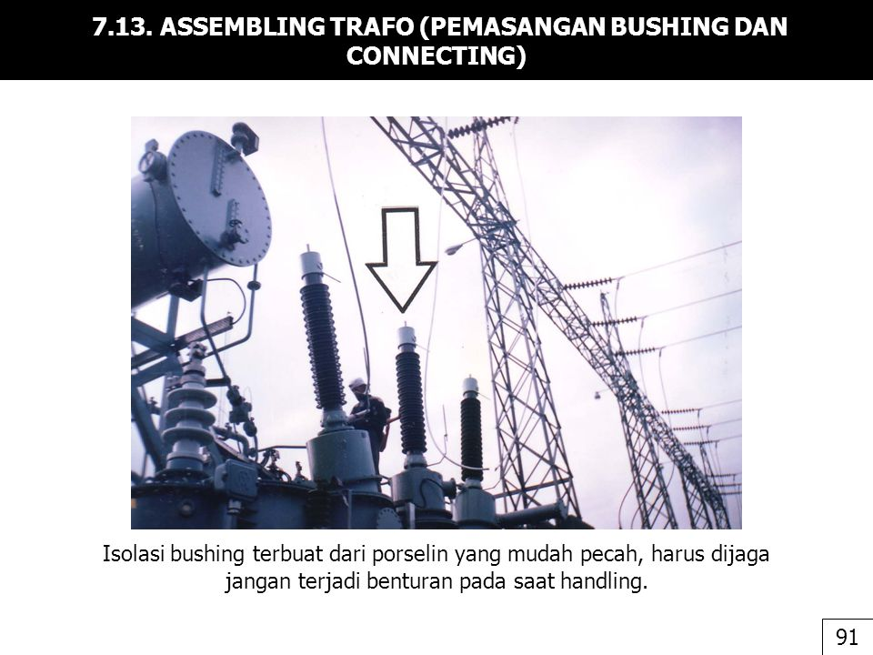 7.13. ASSEMBLING TRAFO (PEMASANGAN BUSHING DAN CONNECTING)