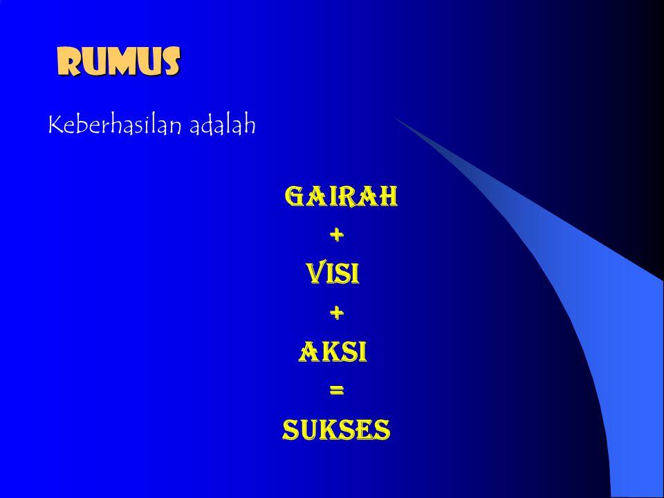 RUMUS Keberhasilan adalah Gairah + Visi Aksi = Sukses