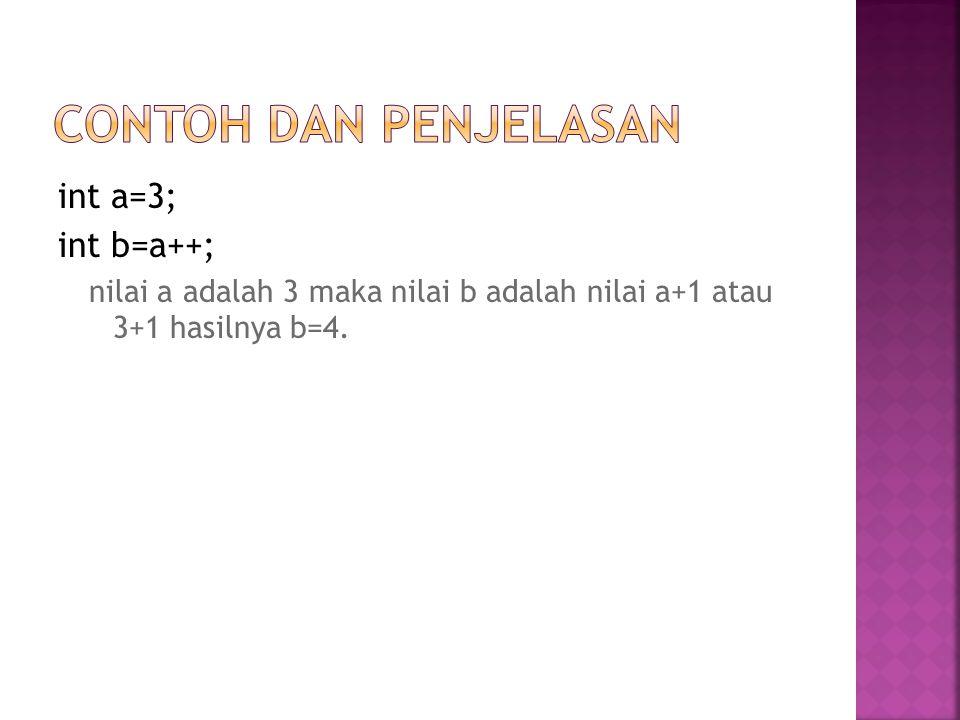 Contoh dan Penjelasan int a=3; int b=a++;