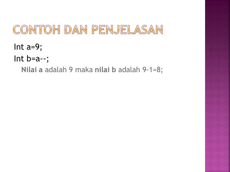 Contoh dan Penjelasan Int a=9; Int b=a--;