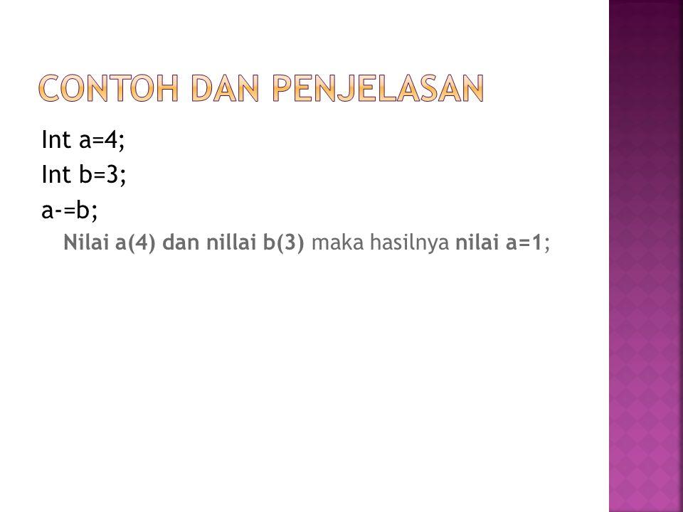 Contoh dan Penjelasan Int a=4; Int b=3; a-=b;
