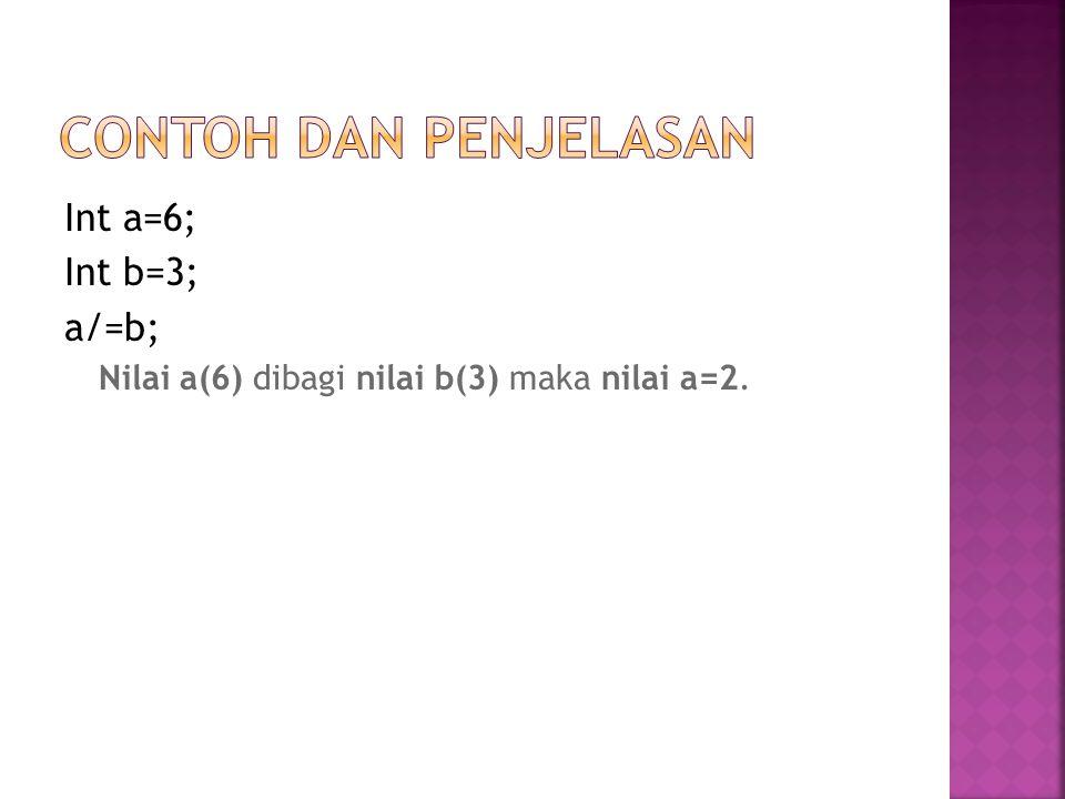 Contoh dan Penjelasan Int a=6; Int b=3; a/=b;