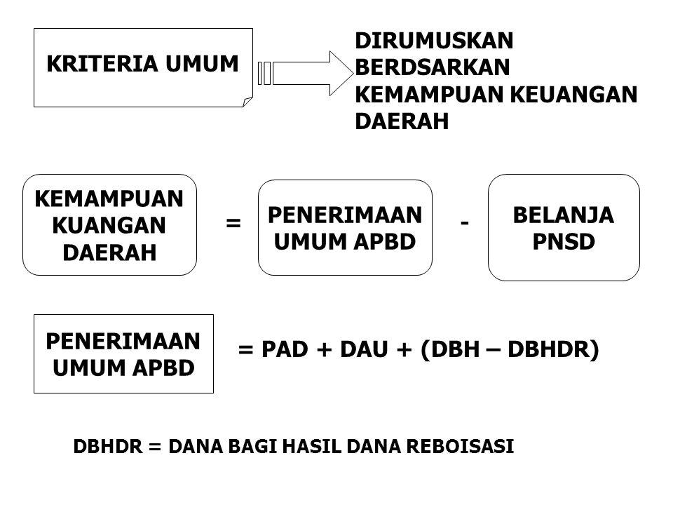 = PAD + DAU + (DBH – DBHDR)