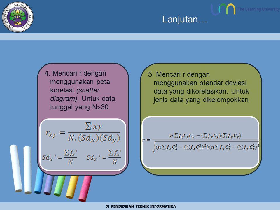Lanjutan… 4. Mencari r dengan menggunakan peta korelasi (scatter diagram). Untuk data tunggal yang N˃30.